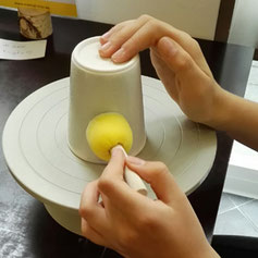 Glasurfarbe Pinsel Keramik bemalen