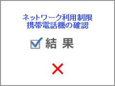 買取対象品のネットワーク利用制限が×判定の画像