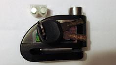 Bremsscheibenschloss (3 Schlüssel, Ersatzbatterien, Inbus für Batteriewechsel...