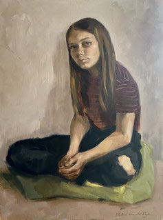 oil painting of a sitting girl with pink background