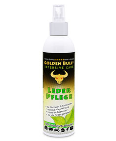 Die biologisch abbaubare Intensivpflege von Golden Bull ist optimal auf die intensive Lederpflege von Autositzen oder Sofas abgestimmt.