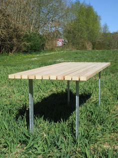 Mipos Tisch aus Holz und Stahl