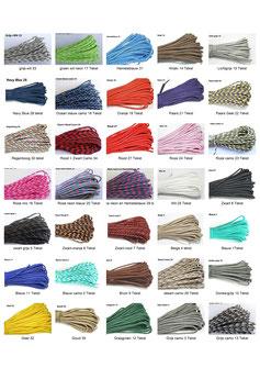 beschikbare  kleuren paracord
