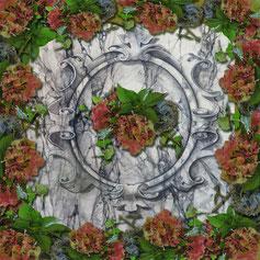 Sjaal 1.40x1.40m. met unieke bedrukte afbeelding van een marmer kunstwerk. Artbreak Uden Mieke van Rosmalen