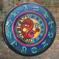 Polyester zodiac vissen 1 meter doorsnee handgeschilderd. Handpainted  Artbreak Uden Mieke van Rosmalen