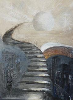 La Passerelle - 54 x 73 - toile réalisée pour la couverture d'un roman en cours de parution