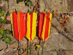 Federn der Pfeile der Bogenschützen in Esslingen