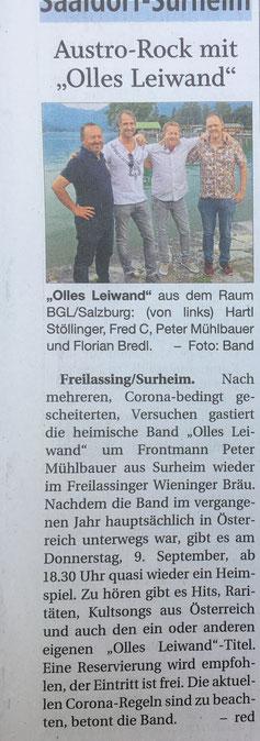 Olles Leiwand, die Liveband mit Austropop bim Wieninger Freilassing