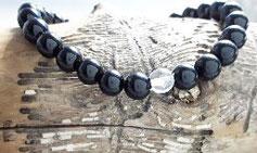 Schwarzer Turmalin Armband mit Bergkristall
