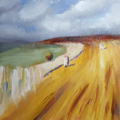 """Mellow Fields at Winklebury, Berwick St. John"" 20.5 x 20.5cm acrylic on cradled board. MFWB01a."