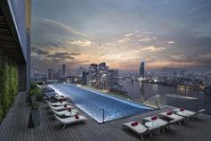 Avani Riverside Hotel 5 Sterne mit besten Rooftop Pool in Bangkok und Skybar mit Ausblick auf Bangkok.