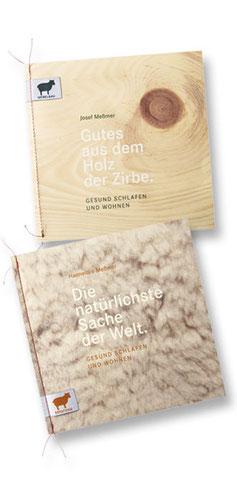 Möbel Meßmer Broschüre – Titelseite mit Schafwolle und mit Zirbenholz