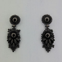 Ohrringe matt schwarz Cabochon Glasperlen