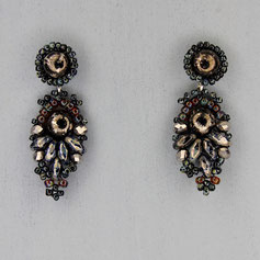 Ohrringe grau-schwarz-marmor Cabochon Glasperlen
