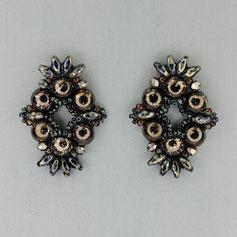 Ohrringe schwarz-hematite-marmor Cabochon Duo