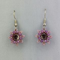 Ohrringe grau-helles lila Swarovski Chaton Rocailles