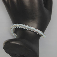 Armband silber-hellblau Miyuki Glasschliffperlen