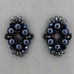 Ohrringe metallic denim blue Cabochon Duo