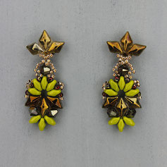 Ohrringe grün-goldbraun Gemstone Duo