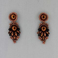 Ohrringe bronze Cabochon Glasperlen