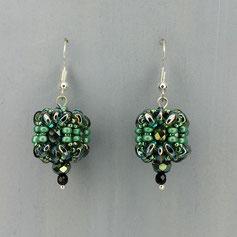 Ohrringe metallic grün-blau Duo Glasperlen
