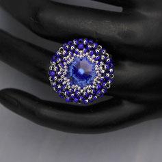 Ring royal blau-silber Swarovski rivoli Miyuki