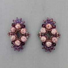 Ohrringe lila-violet-mamor Cabochon Duo