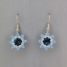 Ohrringe weiß-hellblau Swarovski Chaton Rocailles