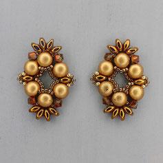 Ohrringe  metallic gold Cabochon Duo