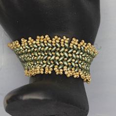 Armband grün-gold Miyuki Duo