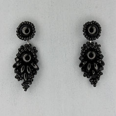 Ohrringe schwarz Cabochon Glasperlen