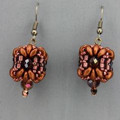 Ohrringe rosa-bronze -roségold Duo Glasperlen