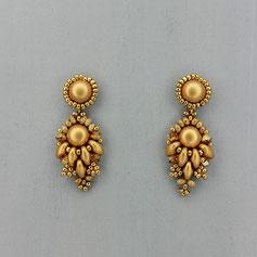 Ohrringe metallic gold  Cabochon Glasperlen