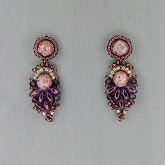 Ohrringe marmor lila Cabochon Glasperlen