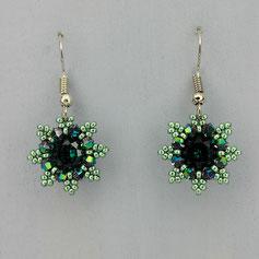 Ohrringe metallic grün Swarovski Chaton Rocailles