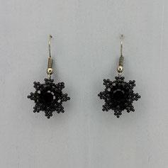 Ohrringe schwarz Swarovski Chaton Rocailles