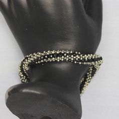 Armband silber-schwarz Miyuki Glasschliffperlen