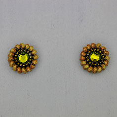 Ohrringe olive-altgold-rot Miyuki Swarovski