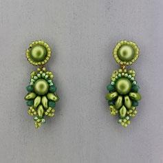 Ohrringe metallic grün Cabochon Glasperlen