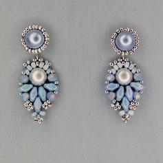 Ohrringe silber-hellblau-lavendel Cabochon Glasperlen
