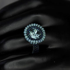 Ring hellblau-jeans Swarovski chaton Miyuki