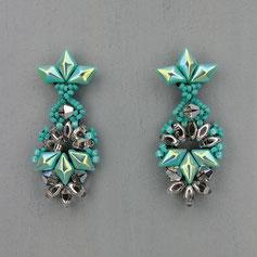 Ohrringe türkis-silber Gemstone Duo Glasperlen