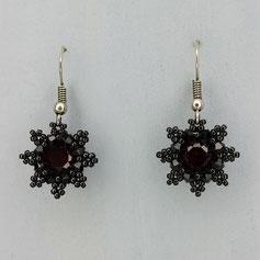 Ohrringe rot-schwarz Swarovski Chaton Rocailles