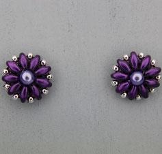 Ohrringe metallic dunkel lila-silber Duo Rocailles