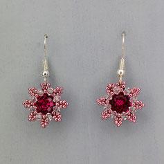 Ohrringe pink-rosa Swarovski Chaton Rocailles