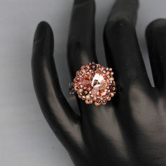 Ring rosa-rosé Svarovski Rivoli Miyuki