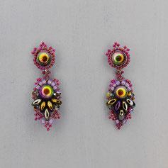 Ohrringe Skarabäus lila-grün Cabochon Glasperlen