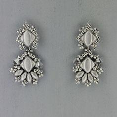 Ohrringe metallic silber Silkybeads Glasperlen