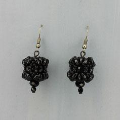 Ohrringe schwarz Duo Glasperlen