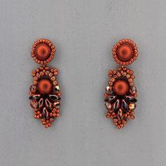 Ohrringe metallic kupfer-rotbraun Cabochon Glasperlen